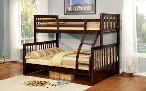 Bunk Bed - Twin over Double Mission Style with or without Drawers Solid Wood - Espresso
