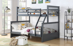 Bunk Bed - Twin over Double Mission Style with or without Drawers Solid Wood - Grey