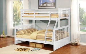 Bunk Bed - Twin over Double Mission Style with or without Drawers Solid Wood - White