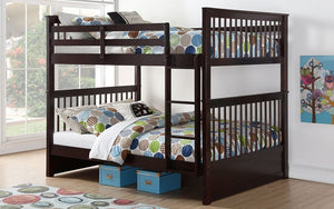 Bunk Bed - Double over Double Mission Style with or without Drawers Solid Wood - Espresso