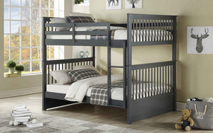 Bunk Bed - Double over Double Mission Style with or without Drawers Solid Wood - Grey