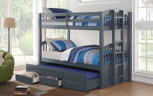 Bunk Bed - Twin over Twin with Trundle and Drawers Solid Wood - Grey