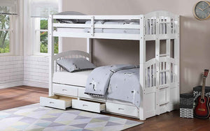 Bunk Bed - Twin over Twin with Trundle and Drawers Solid Wood - White