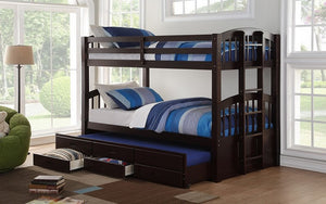 Bunk Bed - Twin over Twin with Trundle and Drawers Solid Wood - Espresso