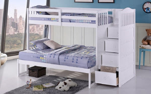 Bunk Bed - Twin over Twin or Double with Drawers, Staircase Solid Wood - White