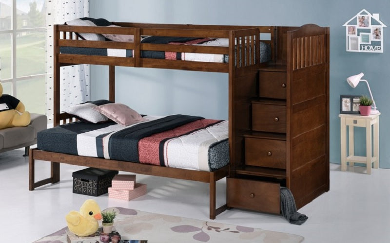 Bunk Bed - Twin over Twin or Double with Drawers, Staircase Solid Wood - Oak