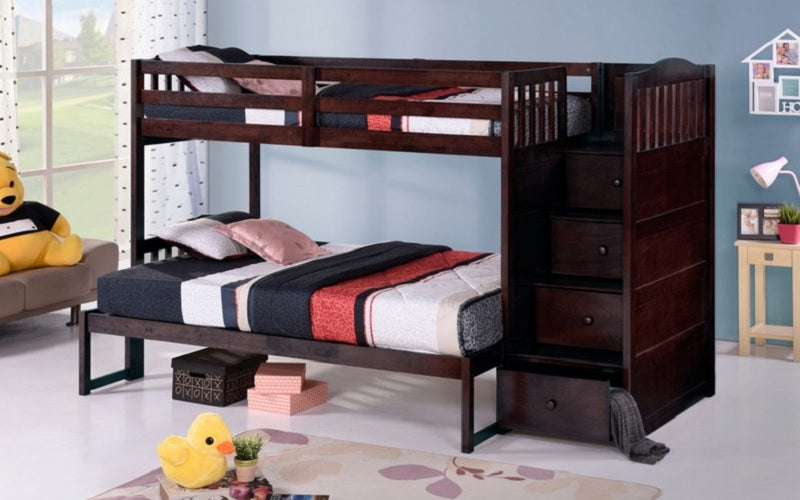 Bunk Bed - Twin over Twin or Double with Drawers, Staircase Solid Wood - Espresso