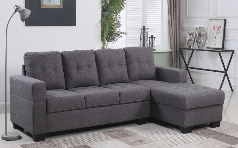 Linen Sectional with Left Side Or Right Side Chaise - Grey