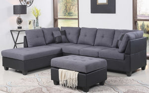 Fabric Sectional set with Chaise and Ottoman - Grey | Black