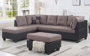 Fabric Sectional Set with Chaise and Ottoman - Taupe | Black