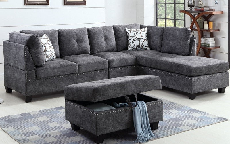 Fabric Sectional Set with Reversible Chaise and Ottoman - Grey