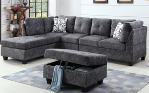 Suede Fabric Sectional Set with Reversible Chaise and Ottoman - Grey