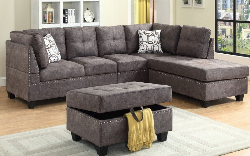 Fabric Sectional Set with Reversible Chaise and Ottoman - Brown