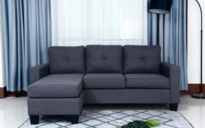 Fabric Sectional with Reversible Chaise - Charcoal Grey