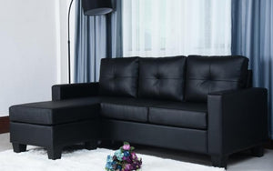 Leather Sectional with Reversible Chaise - Black