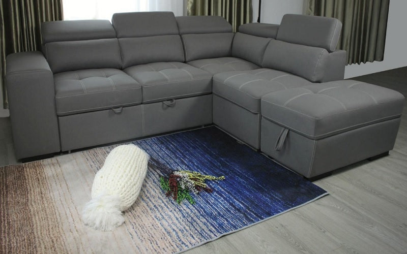 Air Suede Fabric Sectional Sofa with Chaise and Stools - Light Grey
