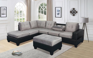 Fabric Sectional Set with Reversible Chaise and Ottoman - Grey | Black
