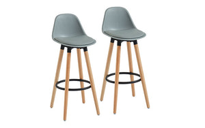 Bar Stool With ABS Back & Wooden Legs - White | Grey | Black