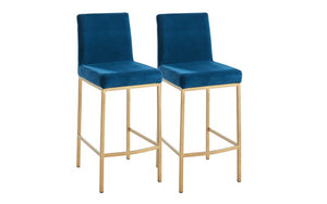 Bar Stool With Velvet Fabric & Gold Legs - Gold | Blue, Gold | Black & Gold | Grey