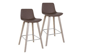 Bar Stool With Leather Seat & Bentwood Legs - Charcoal | Brown - Set of 2 pc