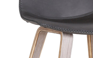 Bar Stool With Leather Seat & Bentwood Legs - Charcoal | Brown
