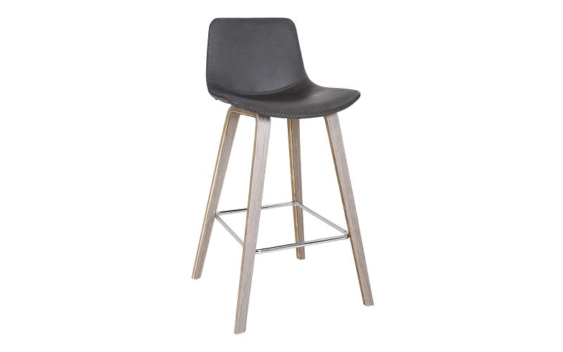 Terrific Bar Stool With Leather Seat Bentwood Legs Charcoal Brown Pabps2019 Chair Design Images Pabps2019Com