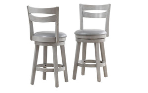Bar Stool With Wooden Back & 360° Swivel Seat - Coffee | Grey - Set of 2 pc