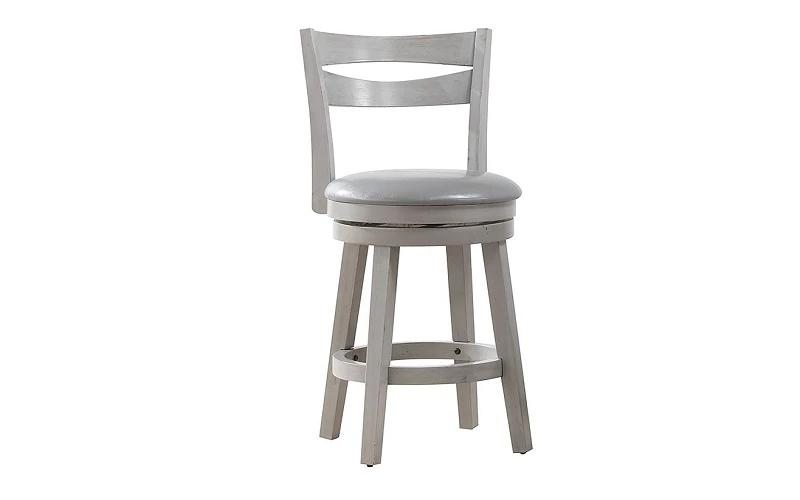 Bar Stool With Wooden Back & 360° Swivel Seat - Coffee | Grey