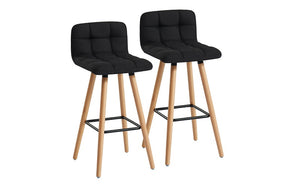 Bar Stool With Fabric & Wooden Legs - Grey | Charcoal | Black - Set of 2 pc