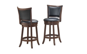 Bar Stool With Leather Back & 360° Swivel Seat - Grey | Coffee - Set of 2 pc