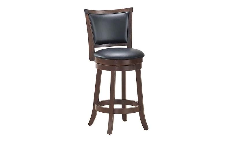 Bar Stool With Leather Back & 360° Swivel Seat - Grey | Coffee