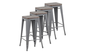 Bar Stool With Metal Frame - Oak | Grey