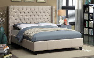 Platform Bed with Button Tufted Linen Fabric - Grey