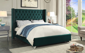 Platform Bed with Velvet Fabric - Green