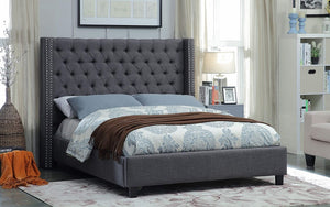 Platform Bed with Button Tufted Linen Fabric - Beige