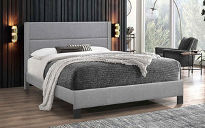 Platform Bed with Tufted Fabric - Light Grey