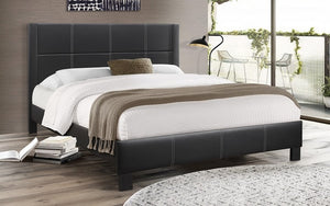 Platform Bed with Tufted Bonded Leather - Black