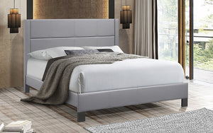 Platform Bed with Tufted Bonded Leather - Grey