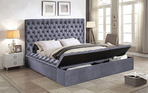 Platform Bed with Velvet Fabric and Storage Benches - Grey