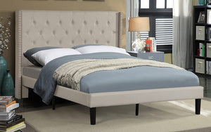 Platform Bed with Button Tufted Linen Fabric - Beige | Grey