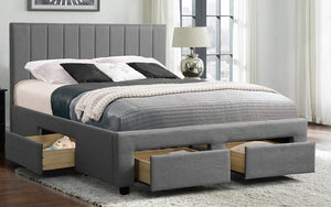 Platform Bed with Panel-Tufted Fabric and 4 Drawers - Grey