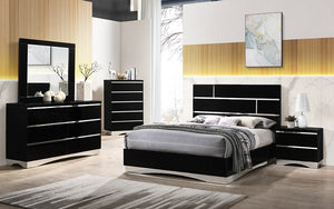 Bedroom Set with Mirror Accents High Gloss Head Board 8 pc - Black