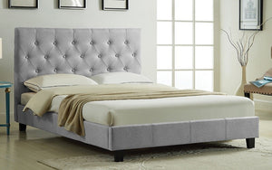 Platform Bed with Button-Tufted Fabric - Grey | Charcoal