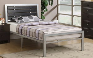 Platform Metal Bed with Wood Panels - Silver