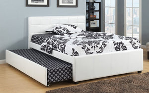 Platform Bed with Leather and Twin Trundle  - White