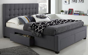 Platform Bed with Button-Tufted Fabric and 4 Drawers - Charcoal Grey