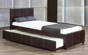 Platform Bed with Leather and Twin Trundle - Black