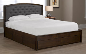 Platform Bed Solid Wood & Button-Tufted Fabric and 4 Drawers - Espresso & Grey