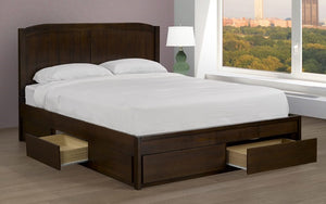 Platform Bed with Solid Wood and 4 Drawers - Espresso
