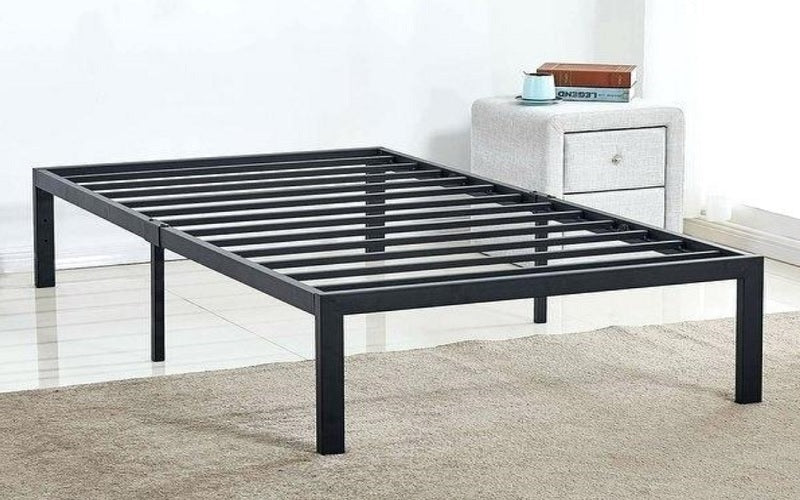 Platform Metal Bed with Fabric - Grey